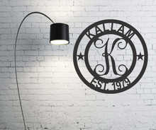 Load image into Gallery viewer, Round Established Monogram - Indoor or Outdoor - Powder Coated Signs
