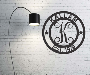 Round Established Monogram - Indoor or Outdoor - Powder Coated Signs
