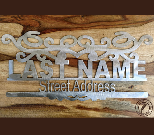 Address Sign Metal Art Indoor or Outdoor - 16 Gauge Thick Metal - Powder Coated Sign