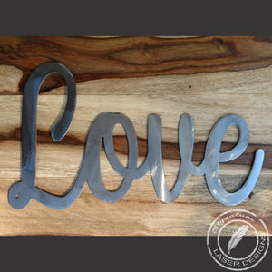 Love metal wall Art Indoor or Outdoor - 16 Gauge Thick Metal - Powder Coated Sign