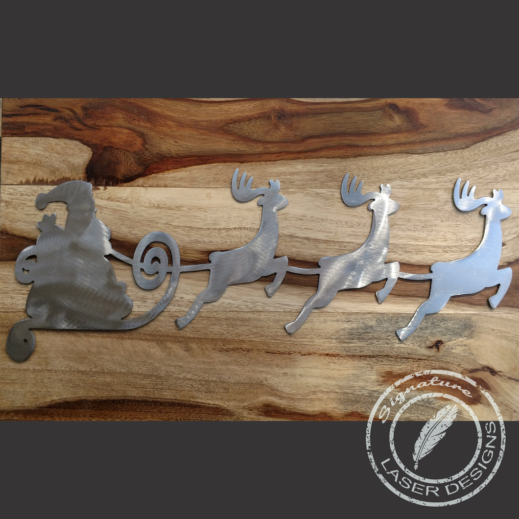 Santa Sleigh and Reindeer Sign Indoor or Outdoor - 16 Gauge Thick Metal - Powder Coated Sign