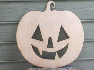 Pumpkin Door Hanger Wood Cutout - Large - 5mm Thick Plywood Unfinished