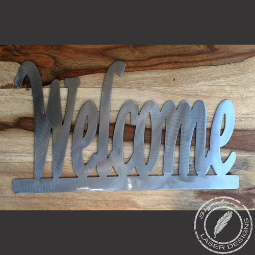Welcome Metal Wall Art Indoor or Outdoor - 16 Gauge Thick Metal - Powder Coated Sign