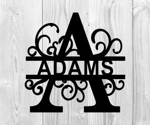Split Letter Monograms Metal Wall Art - Indoor or Outdoor - Powder Coated Signs