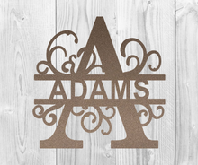 Load image into Gallery viewer, Split Letter Monograms Metal Wall Art - Indoor or Outdoor - Powder Coated Signs