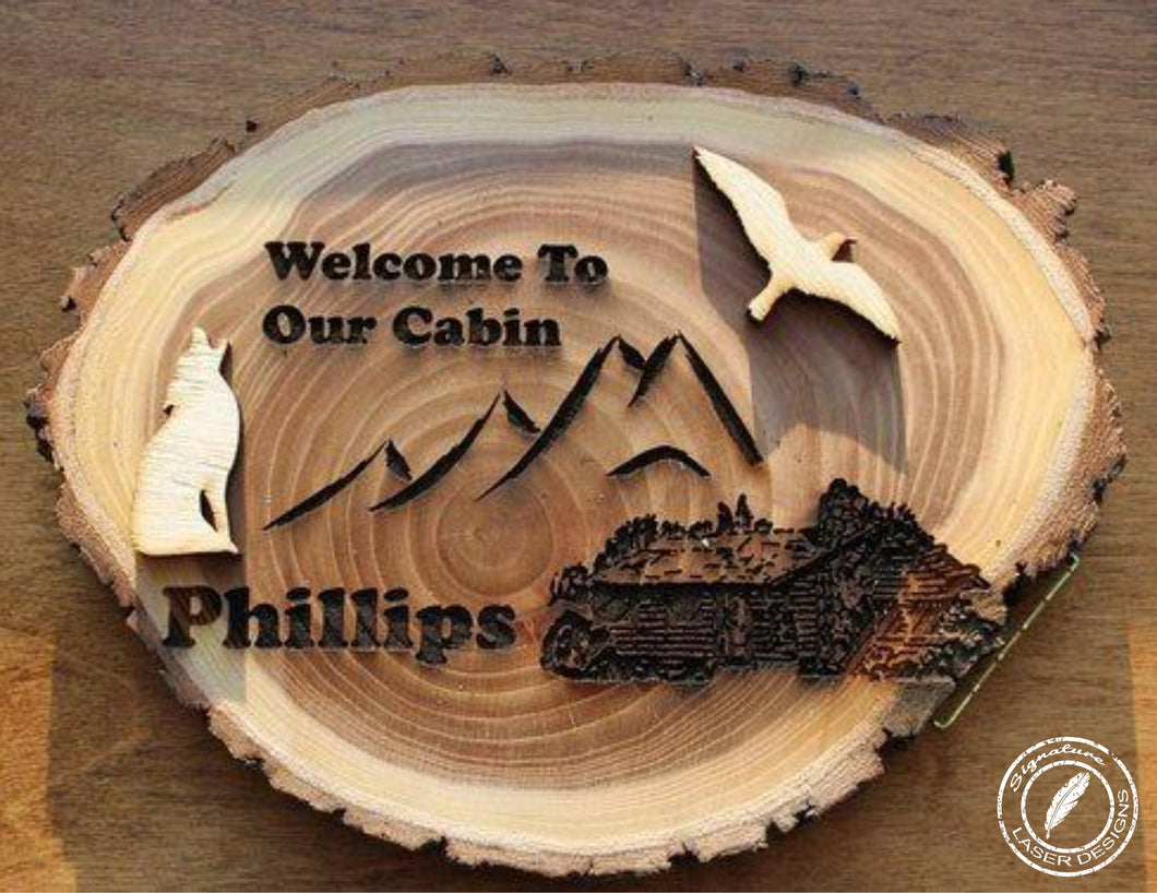 Wood Cabin Log Sign