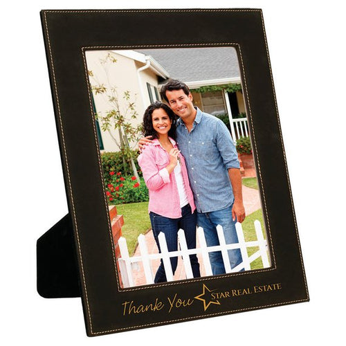 Black With Gold Lettering Leatherette Picture Frame Customized