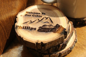 Personalized Cabin Coasters (Set of 4)