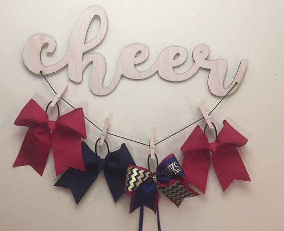 Cheer Bows Wood Cutout Organizer