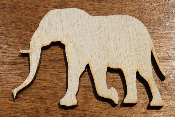 Elephant Sign Wood Cutout