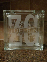 Load image into Gallery viewer, Monogram Custom Etched Glass Block With Plug