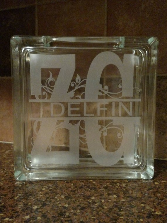 Monogram Custom Etched Glass Block With Plug