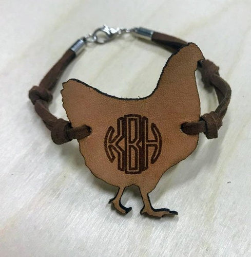 Monogrammed Farm Animal Leather Bracelet