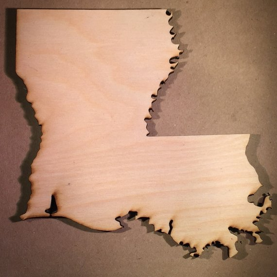 Louisiana LA Wood Cutout Sign