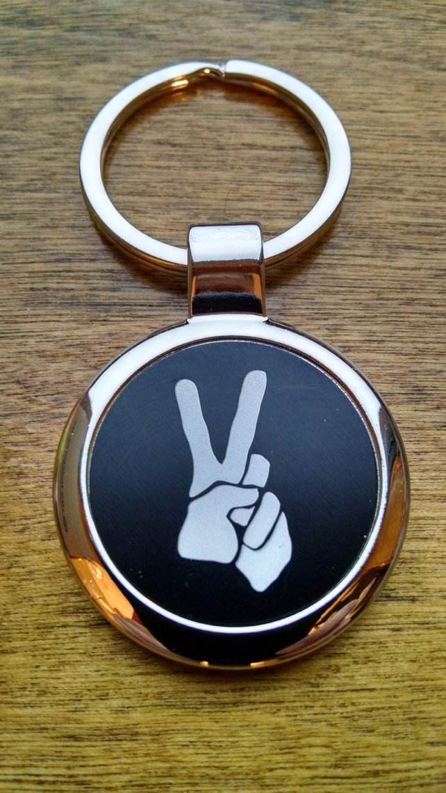 Peace Sign Keychain With Personalized Back