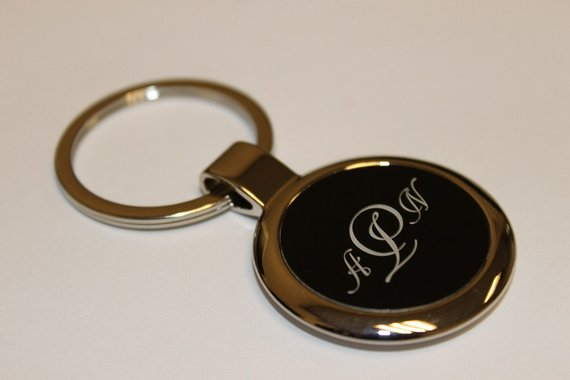 Personalized Black and Silver Puffed Metal Keychain