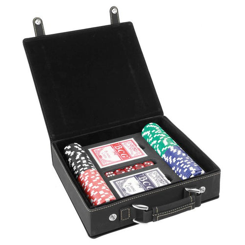 Poker Player Gifts Set With Custom Case Cards Chips and Dice