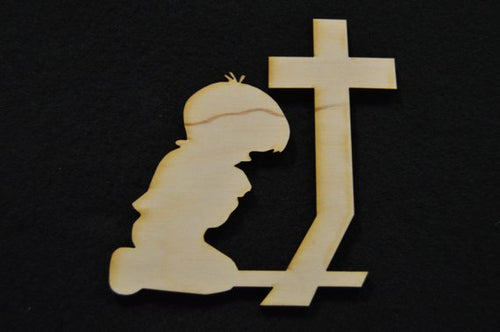 Praying Boy Wood Cutout
