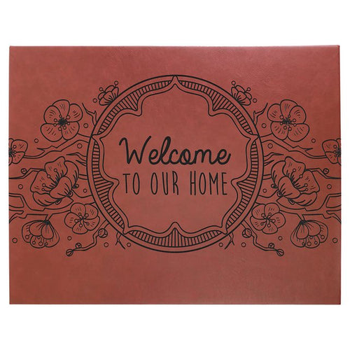 Rose Leatherette Sign Decor Home or Office Custom Art Canvas Wall Hanging