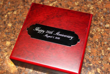 Load image into Gallery viewer, Metal Rosewood Finish Gift Boxes With Engraved Plate