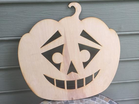 Pumpkin Wood Cutout Sarcastic Face