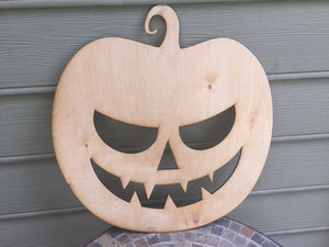Scary Face Pumpkin Plywood Wood Cutout