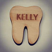 Load image into Gallery viewer, Wooden Tooth Style Name Tag