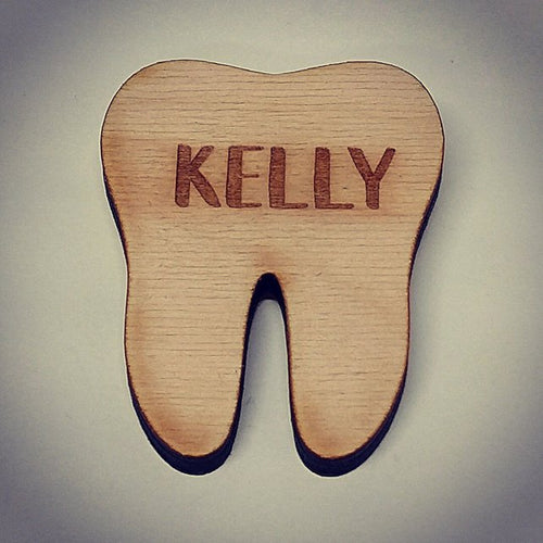 Wooden Tooth Style Name Tag