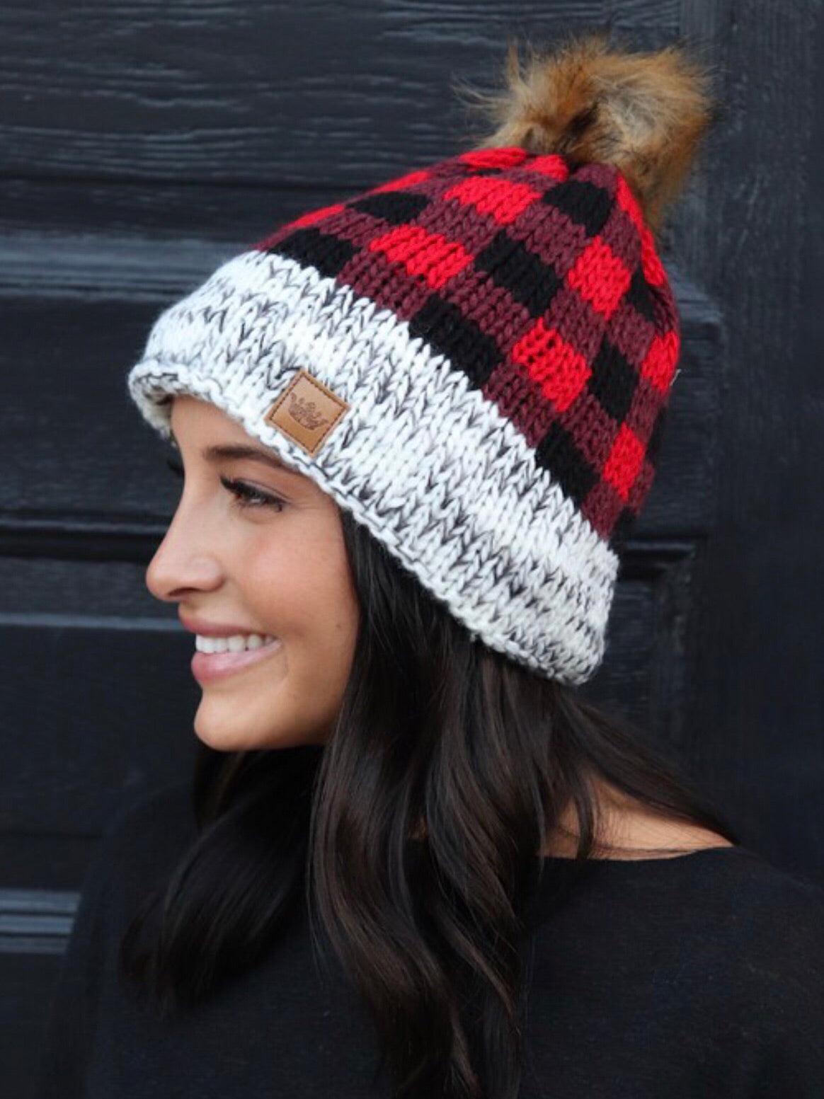 Buffalo Plaid Beanie - Red