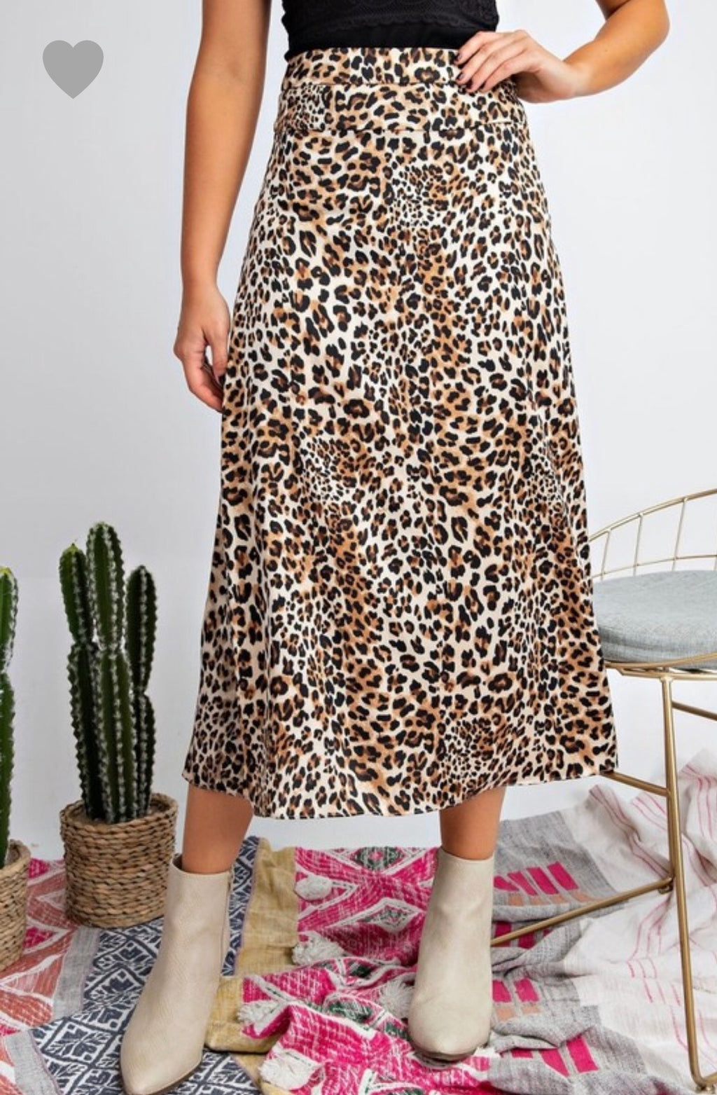 Lucy Leopard Midi Skirt