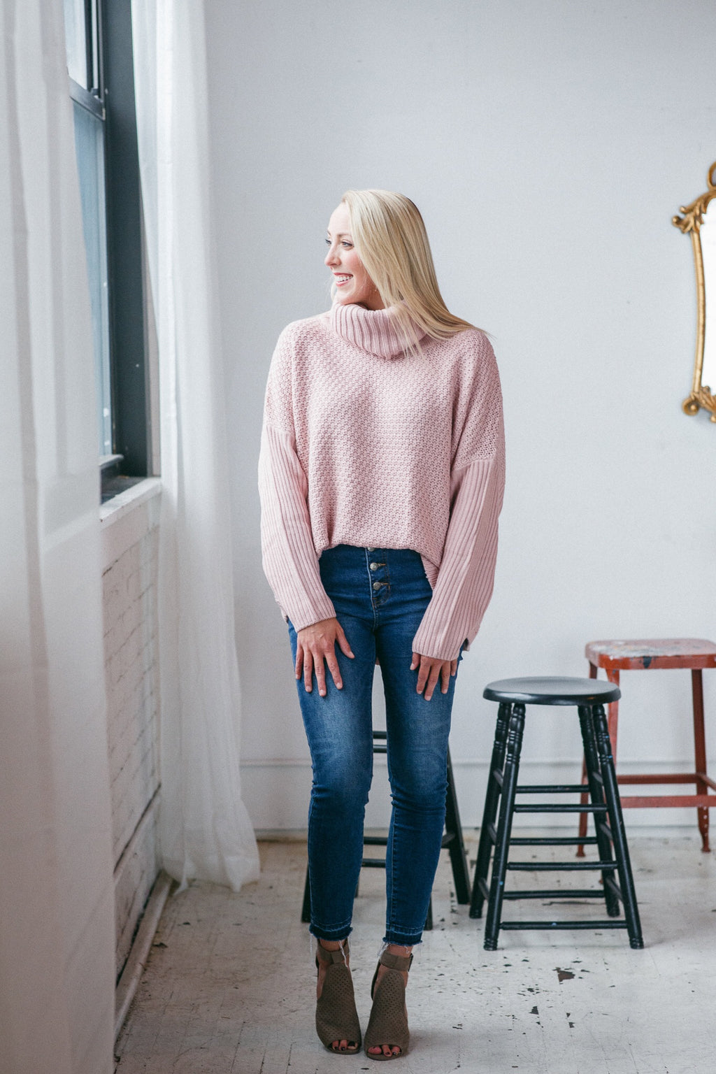 Making Me Blush Cowl Neck Sweater