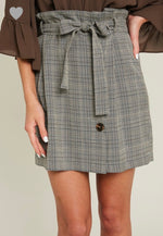 Belted Plaid Skirt