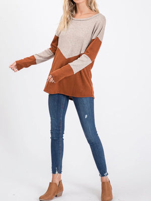 Rust Colorblock Top
