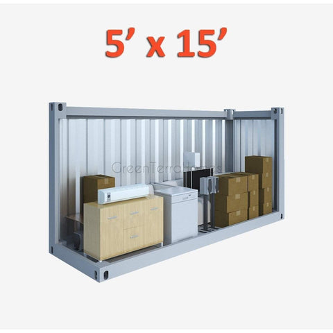 PORTABLE SELF STORAGE POD 5X15 STEEL STORAGE BUILDINGS - SHIPPING CONTAINER- SEA CAN-GreenTerraHomes