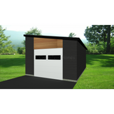 STEEL GARAGE, CAR GARAGE, GARAGE KIT - MODERN 1 CAR 14'x20' 280sf-GreenTerraHomes