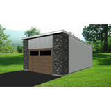 STEEL GARAGE, CAR GARAGE, GARAGE KIT - MODERN 2 CAR 22'x20' 440sf-GreenTerraHomes