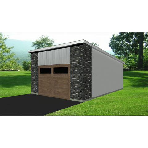 STEEL GARAGE, CAR GARAGE, GARAGE KIT - MODERN 1 CAR 16'x24' 384sf-GreenTerraHomes