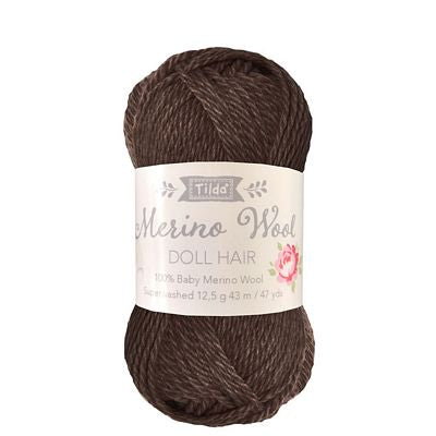 Tilda Yarn for Doll Hair in Dark Brown