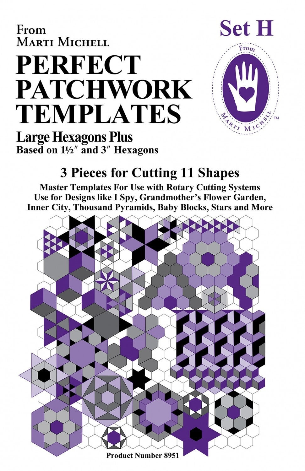 Marti Michele Perfect Patchwork Template Set H Large Hexagons