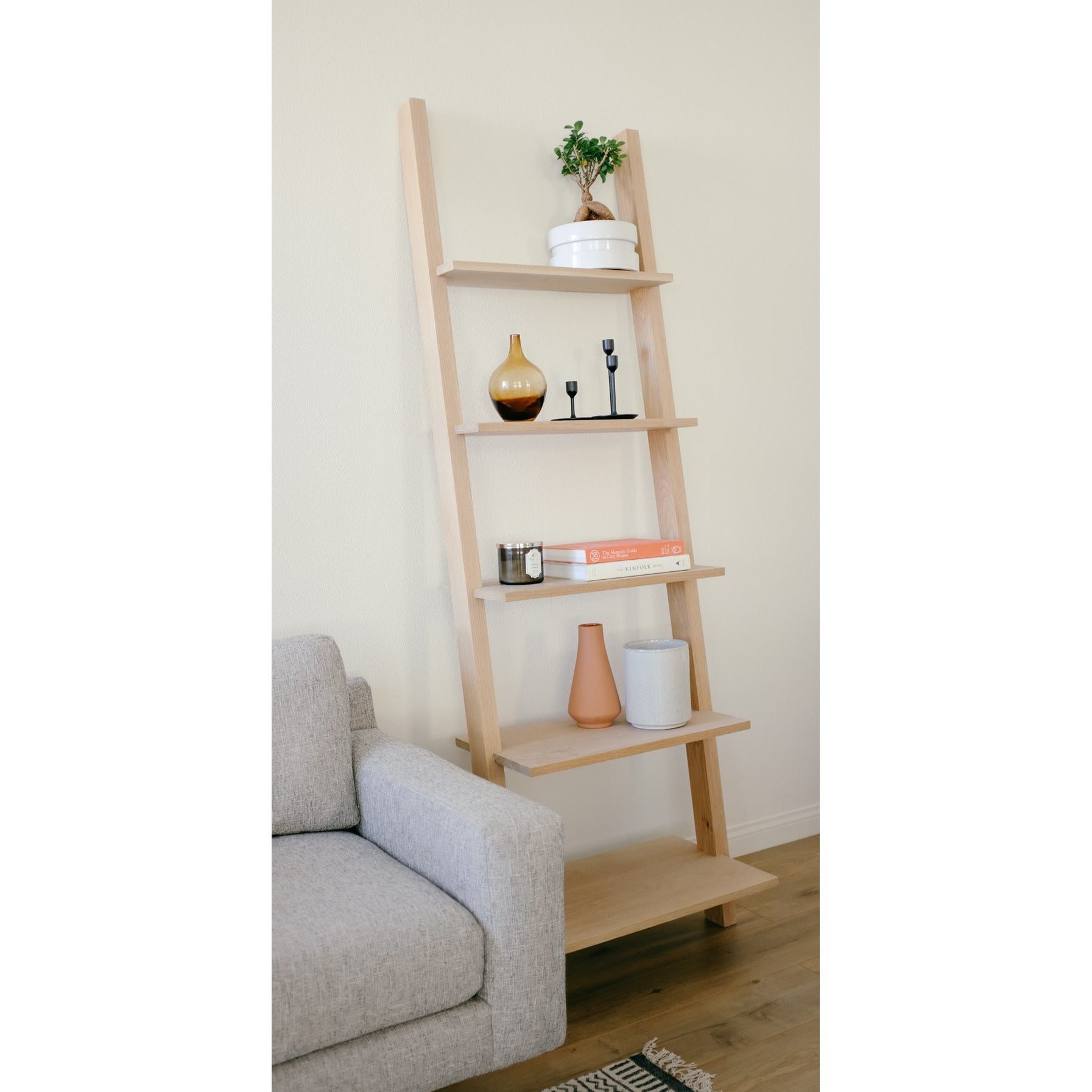 Two Walnut Ladder Shelves
