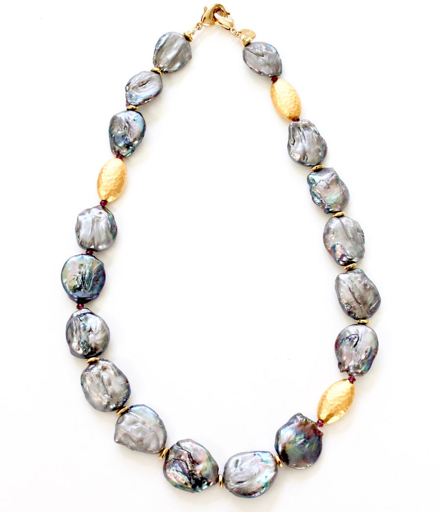 Peacock Baroque Pearl Convertible Collar