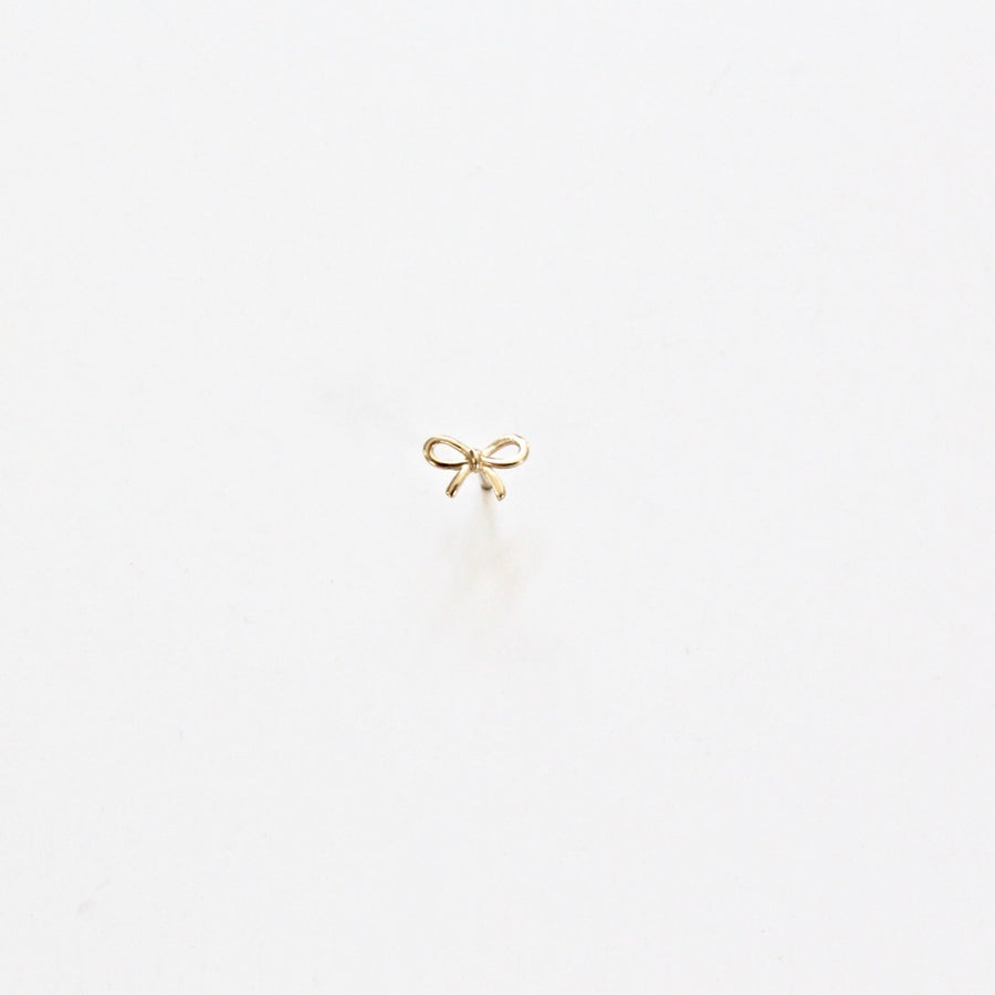 Daisy + Bow Post Earring 14K