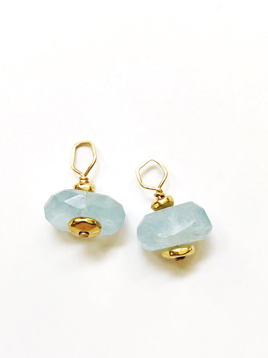 Aquamarine Faceted Drop Charms