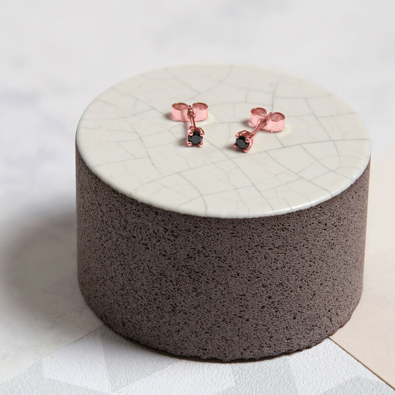 9k Rose Gold & Black Diamond Stud Earrings - Myia Bonner Jewellery