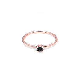 9k Rose Gold & Black Diamond Solitaire Ring - Myia Bonner Jewellery