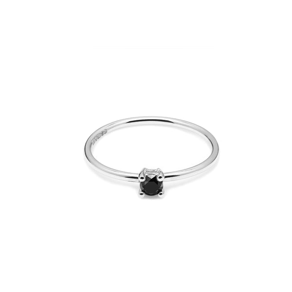 9k White Gold & Black Diamond Solitaire Ring - Myia Bonner Jewellery