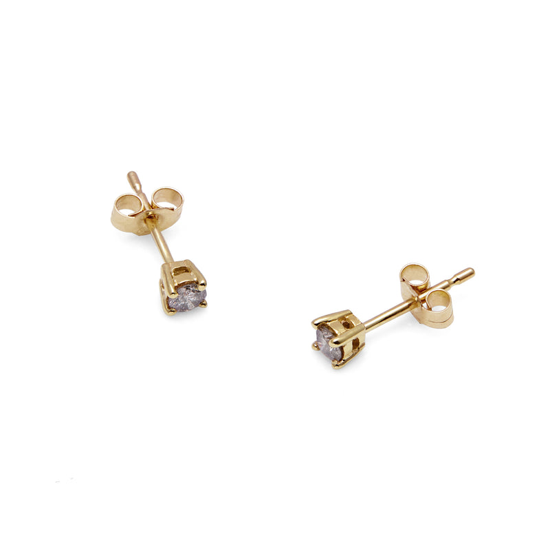 9k Yellow Gold & Salt & Pepper Diamond Stud Earrings