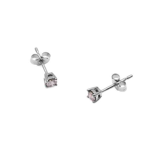 9k White Gold & Salt & Pepper Diamond Stud Earrings