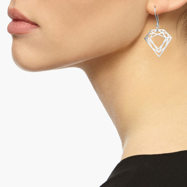 Classic Diamond Drop Earrings - Silver - Myia Bonner Jewellery
