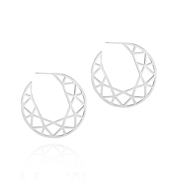 Brilliant Diamond Hoop Earrings - Silver - Myia Bonner Jewellery
